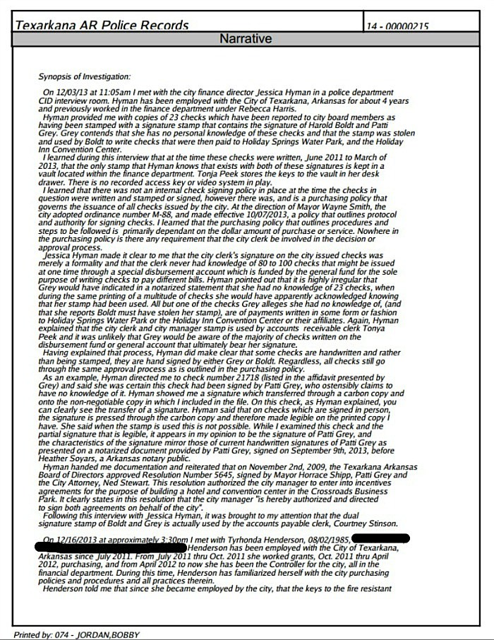 Page one redacted