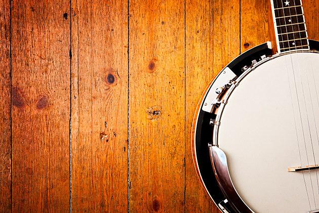 Banjo on wood background