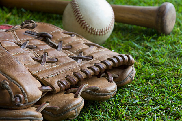 Baseball with bat and mitt
